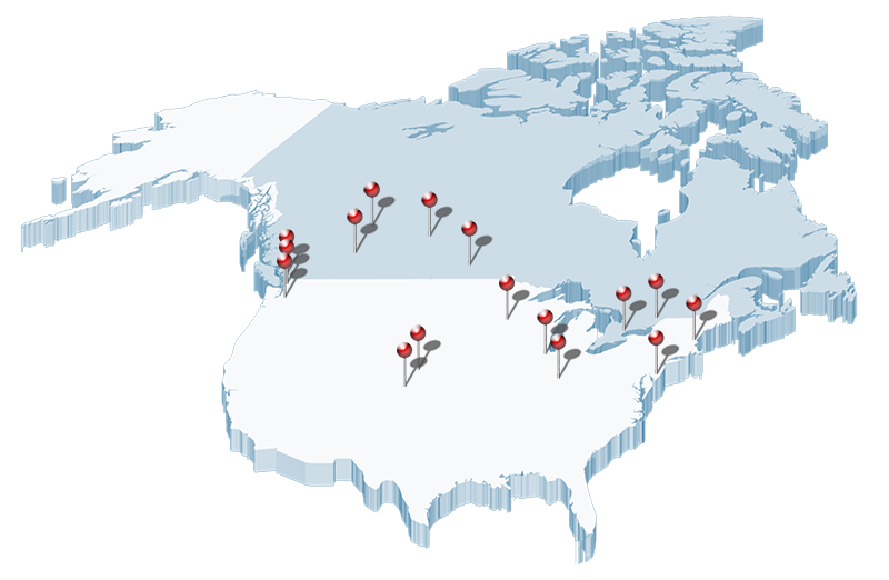 A graphic of North America, with Pleasant Solutions locations marked
