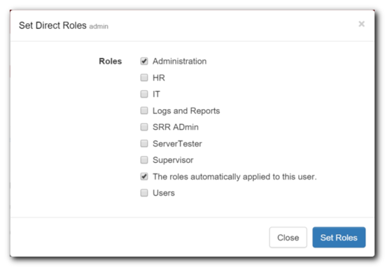 Set User Roles Window Sample
