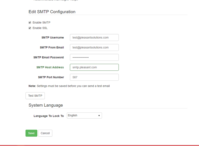 SMTP Email config