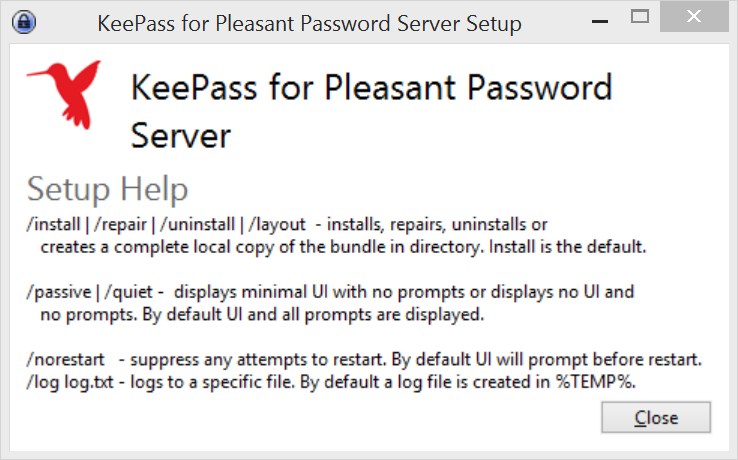 Setup switches for KeePass for Pleasant Password Server