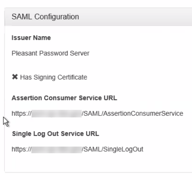 SAML Config Values