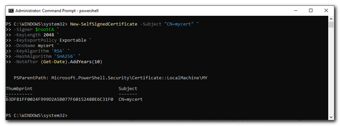 cmd create self signed certificate
