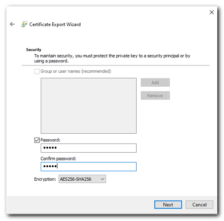 export certificate password