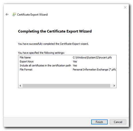 export certificate finish
