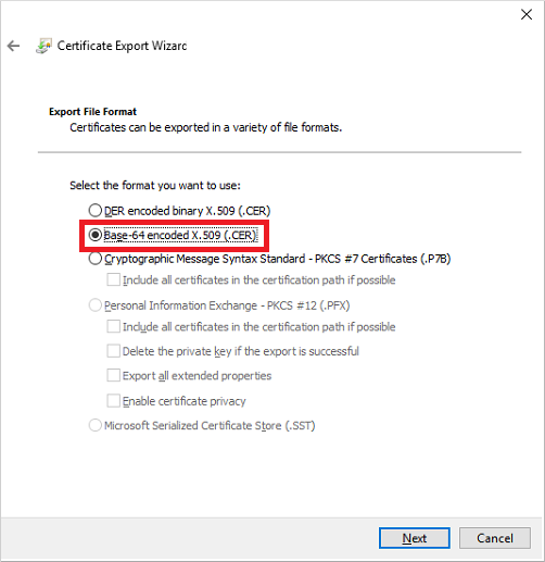 export cert to cer file
